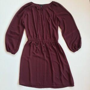 WHBM Burgundy Boho Chiffon Tassel Detailed Dress M